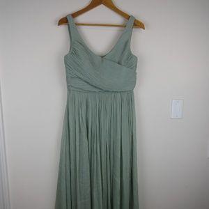 J Crew Heidi Maxi Dress Silk Prom Bridesmaid Green